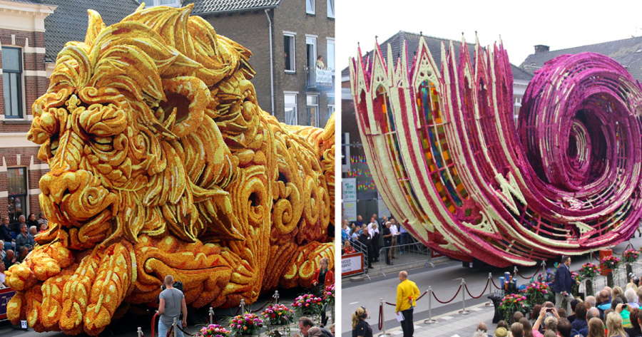 Парад гигантских цветочных скульптур в Голландии